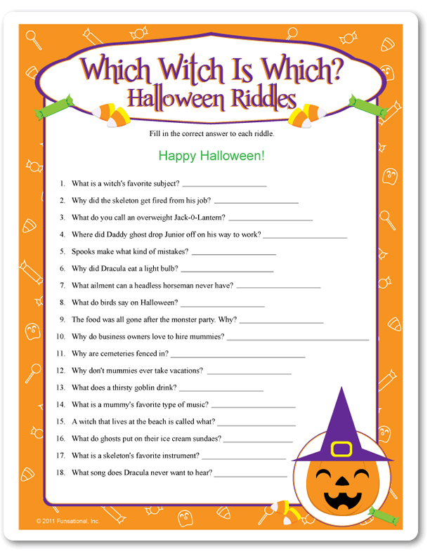 Printable Which Witch Is Which? Halloween Riddles , Pumpkin