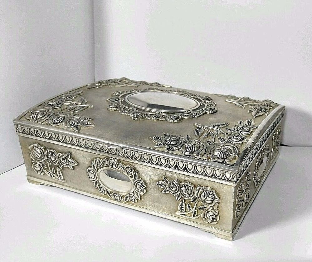 Vintage GODINGER Large Trinket JEWELRY BOX SILVER PLATED Lucyla