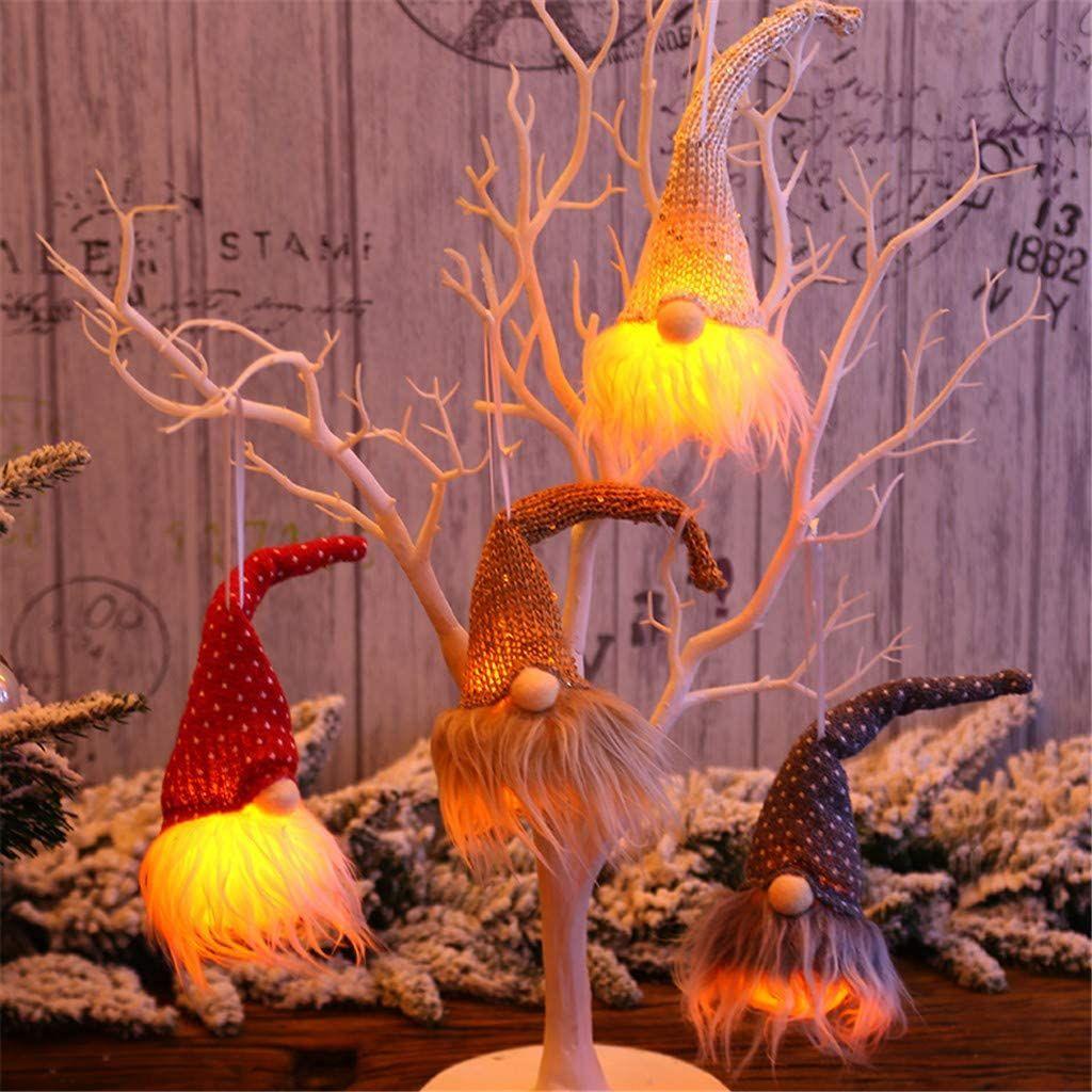 goodjinHH 4er Weihnachten Deko Wichtel mit LED 20 cm Hoch, Schwedischen Weihnachtsmann Santa Tomte Gnom, Skandinavischer Zwerg Geschenke für Kinder... Farbe:Mehrfarbig