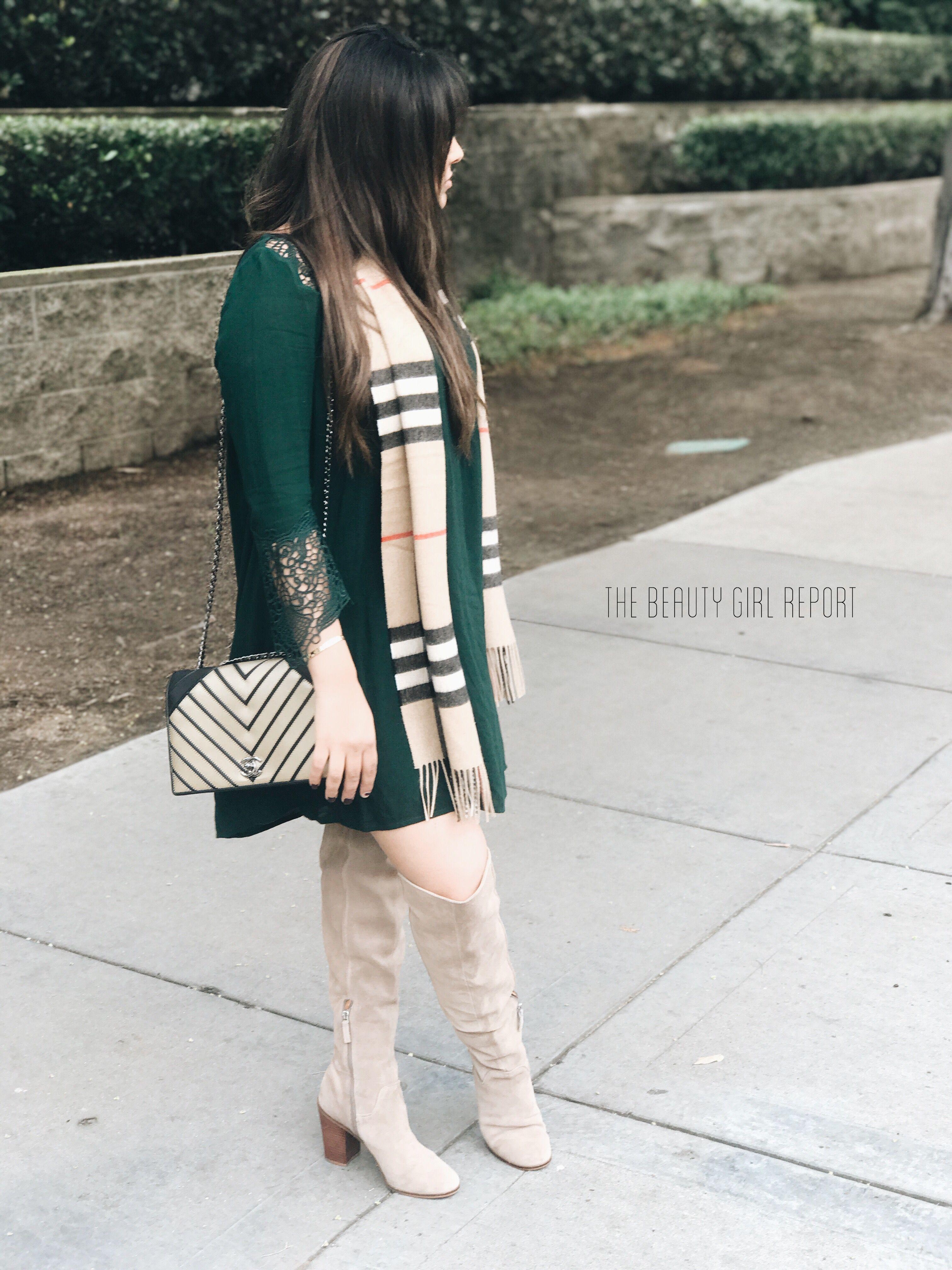 850bb85e673 DRESS. BB Dakota SCARF. Burberry PURSE. Chanel BOOTS. Franco Sarto ...