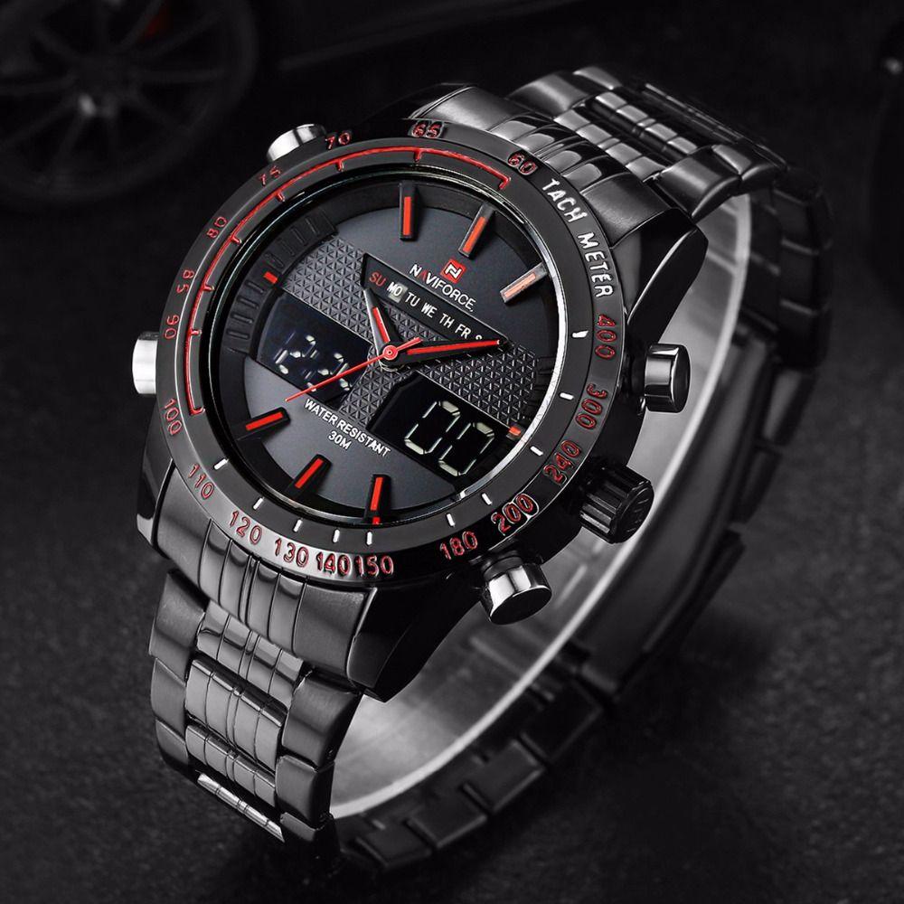 ab965683b31 NAVIFORCE Assista Homens Luxo Marca Aço Inoxidável Analógico Digital Led esportes  homens relógio de quartzo relógio à prova d  água relogio masculino em ...