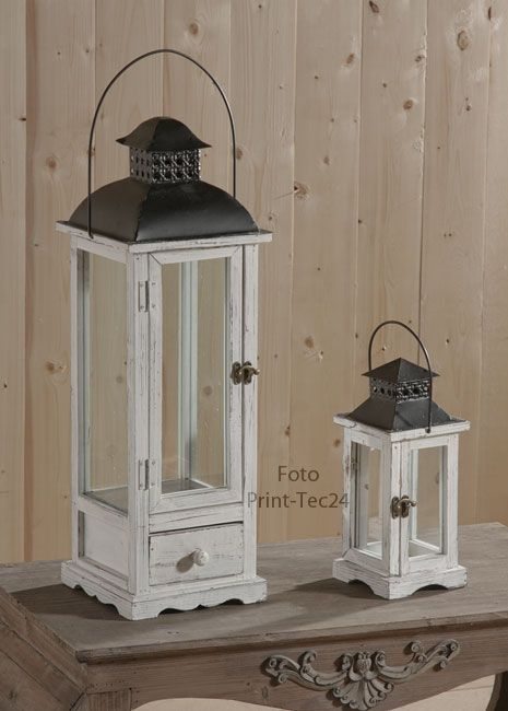 rustikale gartenlaterne holz wei landhaus windlicht laterne vintage landhausstil. Black Bedroom Furniture Sets. Home Design Ideas