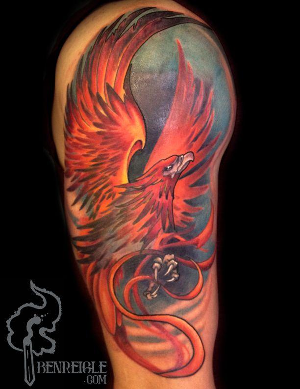 f143115084914 phoenix half sleeve. 2 sessions. www.benreigle.com | Tattoo Daze ...