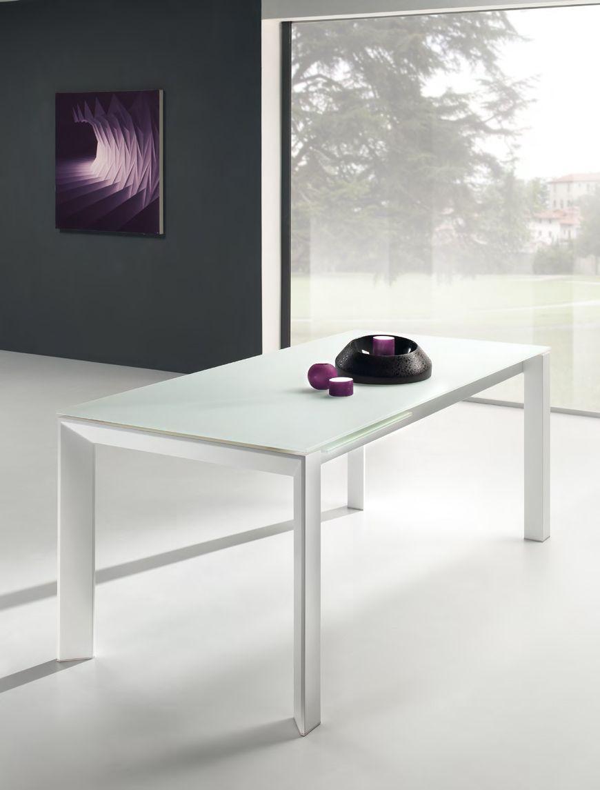 Piano Per Tavolo Vetro.Tavolo Vetro Rettangolare Allungabile Con Struttura In Alluminio