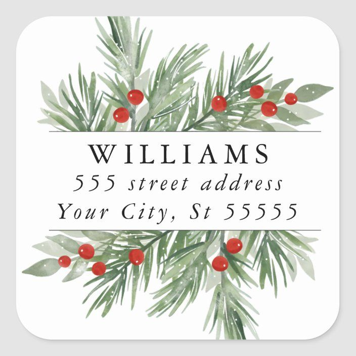 Personalized Evergreen and Berries Holiday Gift Tag or Sticker