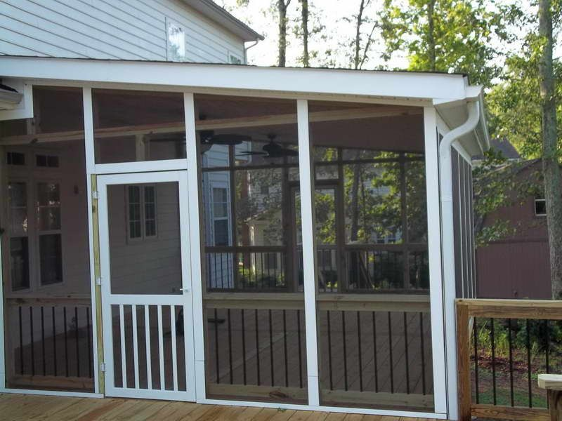 Screened In Porch Ideas Design screened porch ideas patio rustic with adirondack chairs gable roof Three Season Porch Design Ideas Porch Systems With Screen Porch Railing