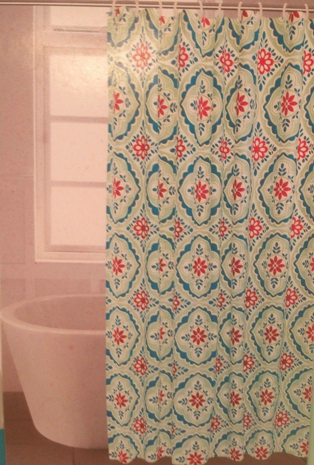Comfort Bay Designer Print Shower Curtain Or Liner Medallion Red Blue Green New