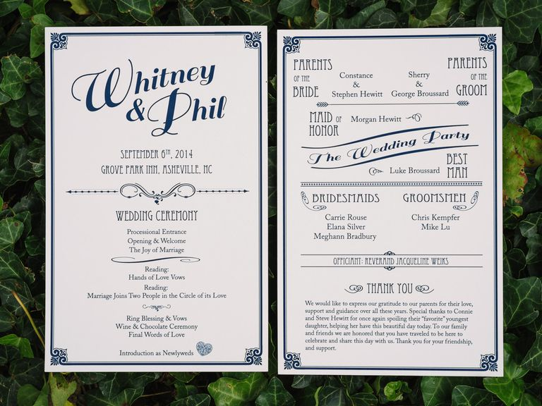 What Do You Include In A Ceremony Program? | Ceremony Programs