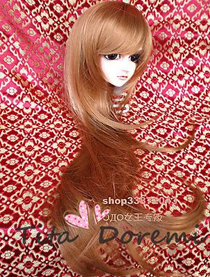 "1/3 8-9"" Dal Pullip BJD SD DZ DOD LUTS dollfie Doll long brown wig 22-24 E62"