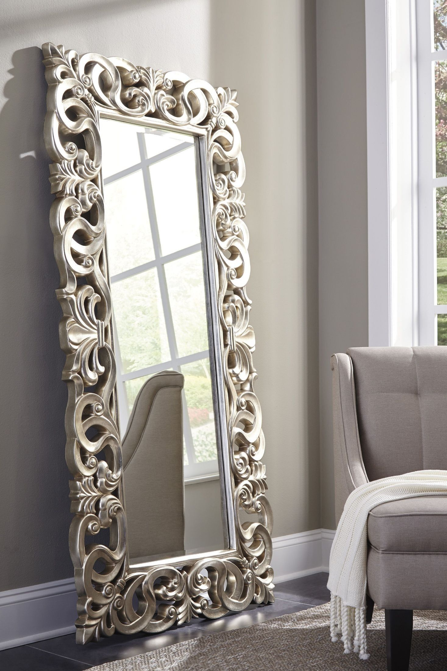 Lucia Antique Silver Accent Mirror | Accessories in 2019 | Home decor, Floor mirror, Mirror
