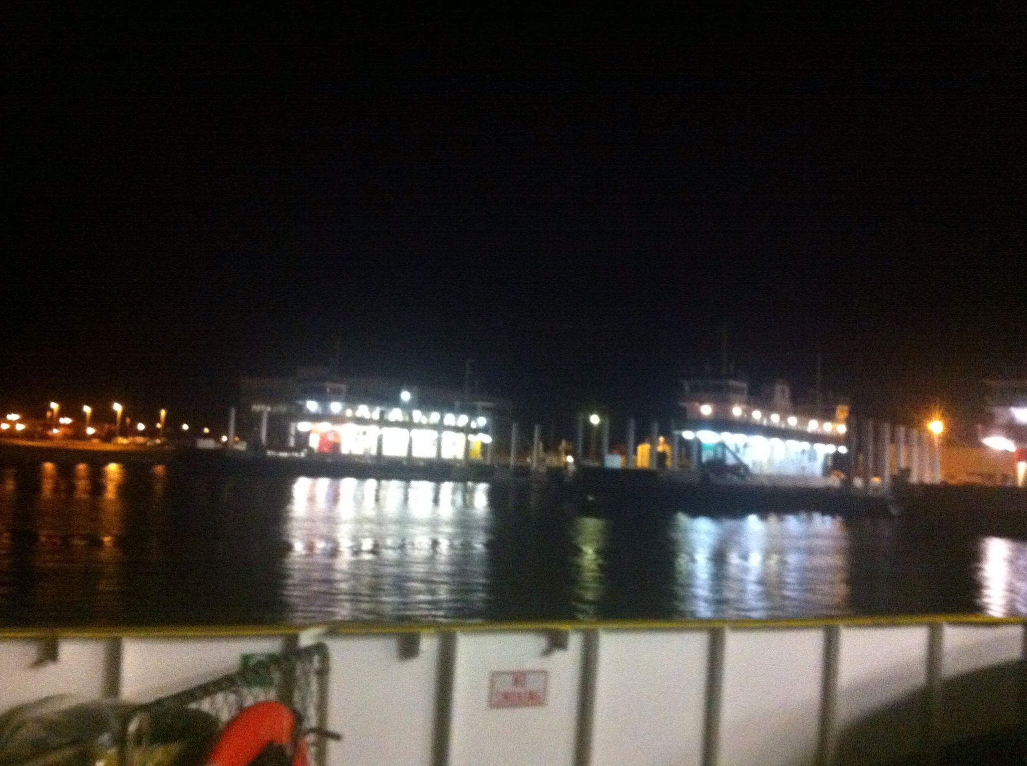 Crystal beach texas view from the ferry at night
