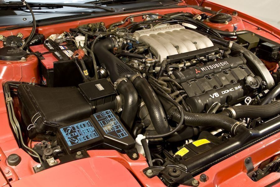 mitsubishi 3000gt vr4 twin turbo engine bay 6g72tt 325hp stock engine