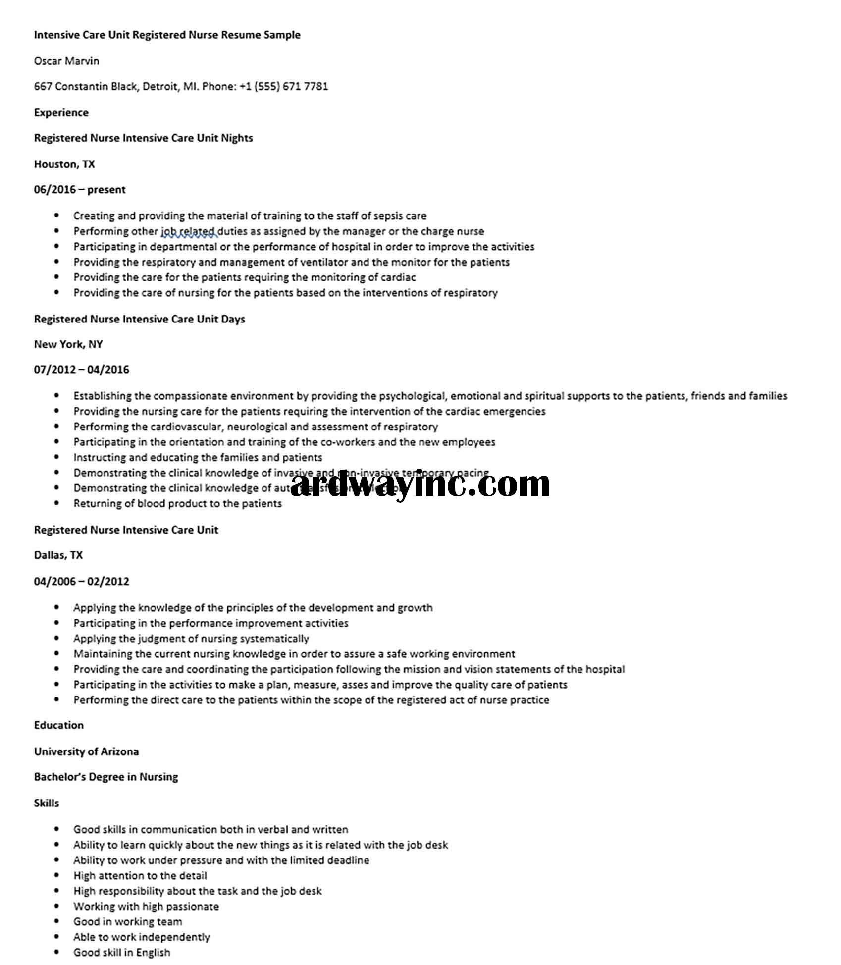 Intensive Care Unit Registered Nurse Resume Sample Registered Nurse Resume Nursing Resume Intensive Care