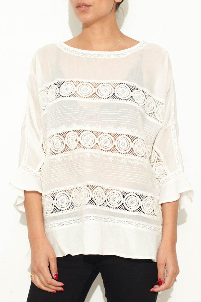 Ivory Lace and Crochet Top From ShopHeist.com!