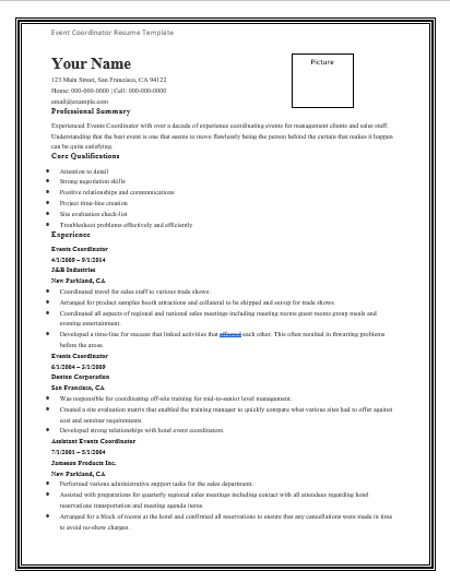 EventCoordinatorResumeTemplate  Resume    Template