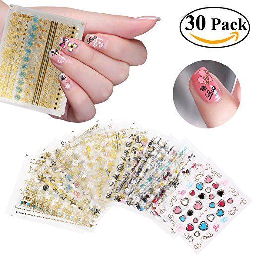 Ruimio Nail Stickers Decals 3d Nail Art Designs 30 Sheet Want List