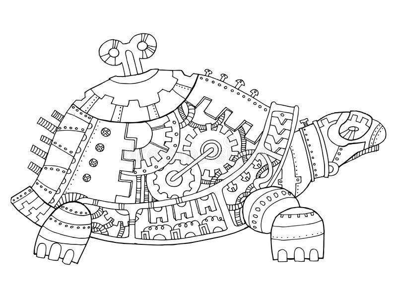 Steampunk Style Turtle Coloring Book Vector Stock Vector Illustration Of Pattern Antistress 85 Steampunk Coloring Book Steampunk Coloring Steampunk Drawing