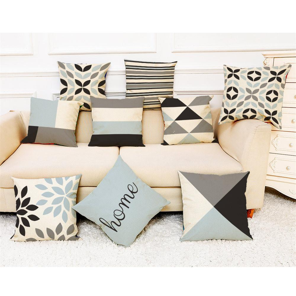 Linen Pillow Case Modern Simple Printed Sofa Car Seat Home Decor Cushion Cover
