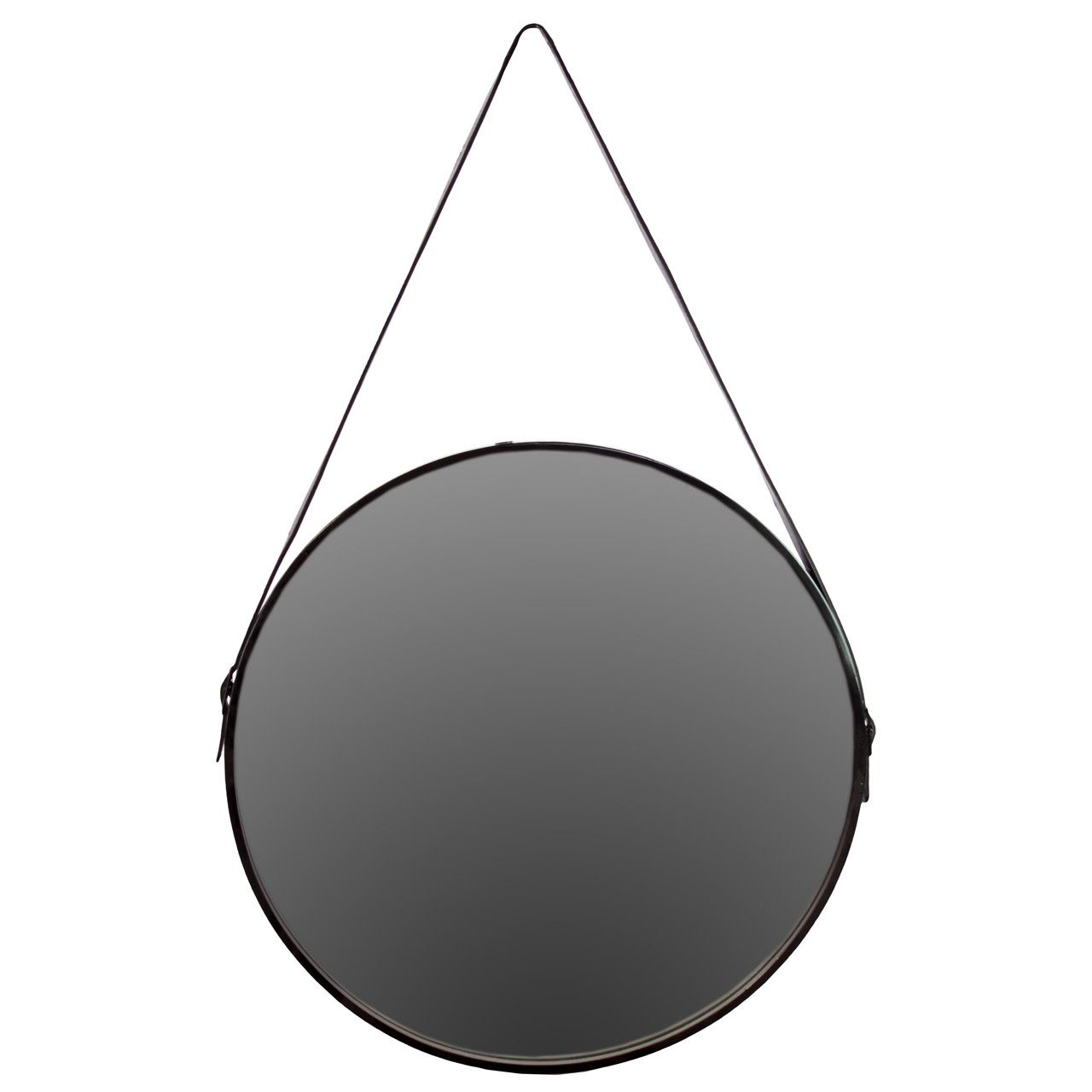 Round Metal Mirror With Rope Part - 46: Urban Trends Metal Round Mirror With Leather Belt Hanger Black