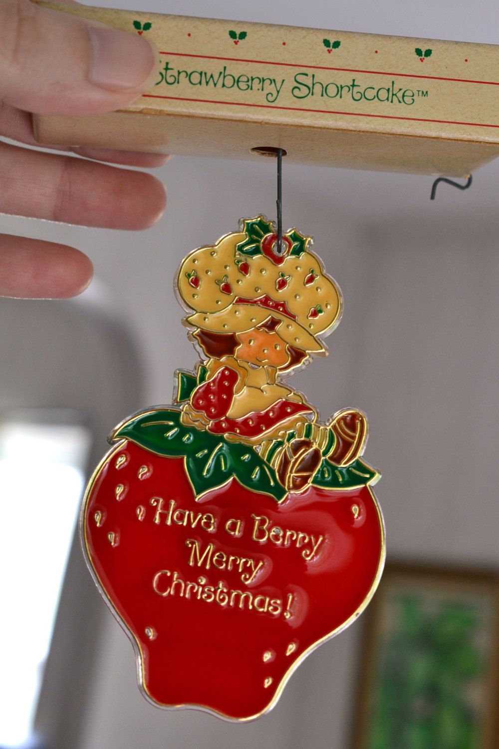 Nos Strawberry Shortcake Christmas Ornament Plastic Stained Glass Style  Hanging Have A Berry Merry Christmas Tree