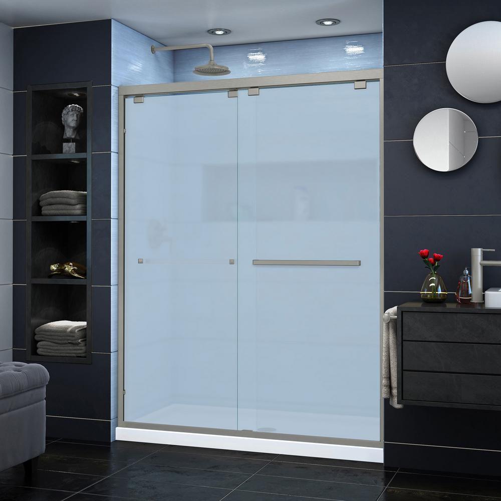 DreamLine Encore 60 in. x 76 in. H Semi-Frameless Sliding Shower Door in Oil Rubbed Bronze-SHDR-166076F-06 #framelessslidingshowerdoors