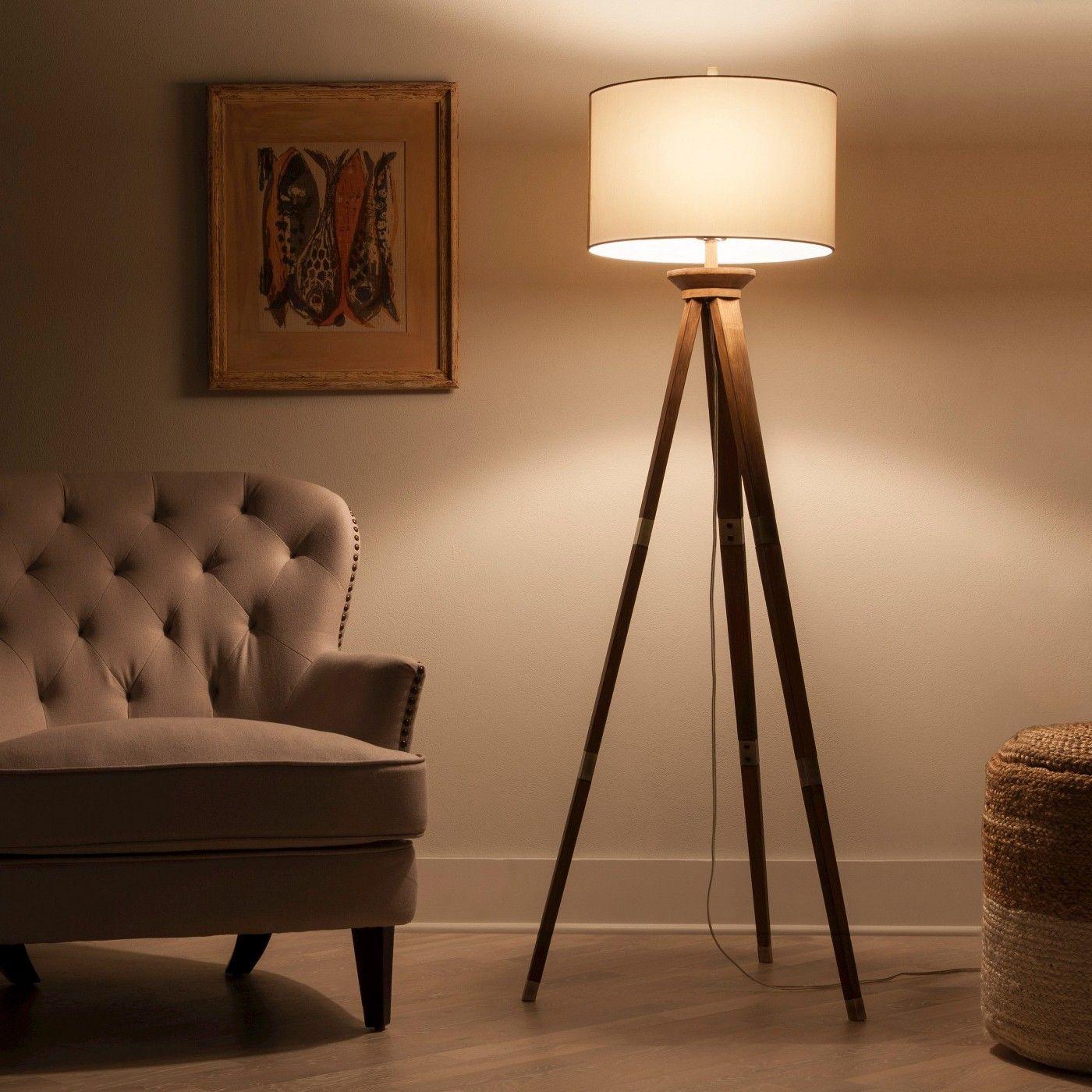 Oak Wood Tripod Floor Lamp Brass Threshold Wood floor