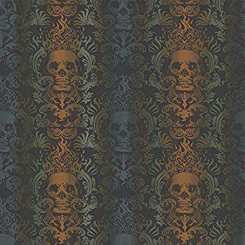 Best Chesapeake Tot47112 Luther Orange Skull Modern Damask 640 x 480