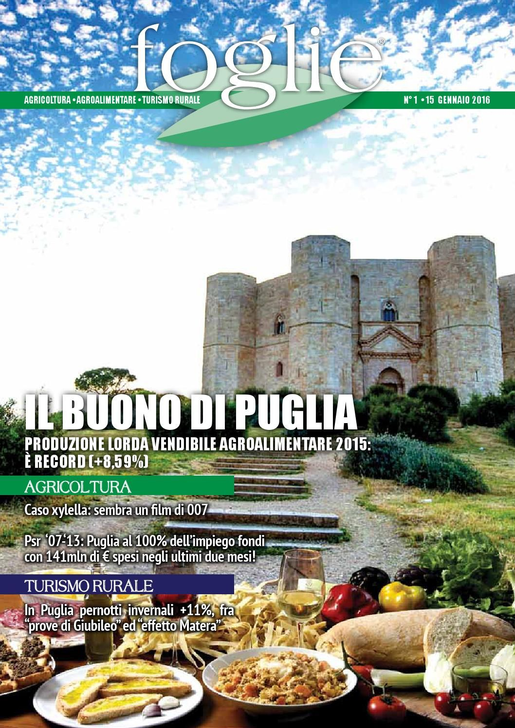 FOGLIE n.01/2016  AGRICOLTURA AGROALIMENTARE TURISMO RURALE