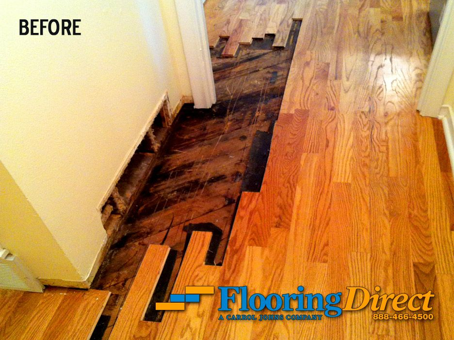 Before Picture Showing The Water Damaged Hardwoodflooring We Repaired Flooring Direct 888 466 4500 Floors Hardwood Floors Solid Hardwood Floors Hardwood