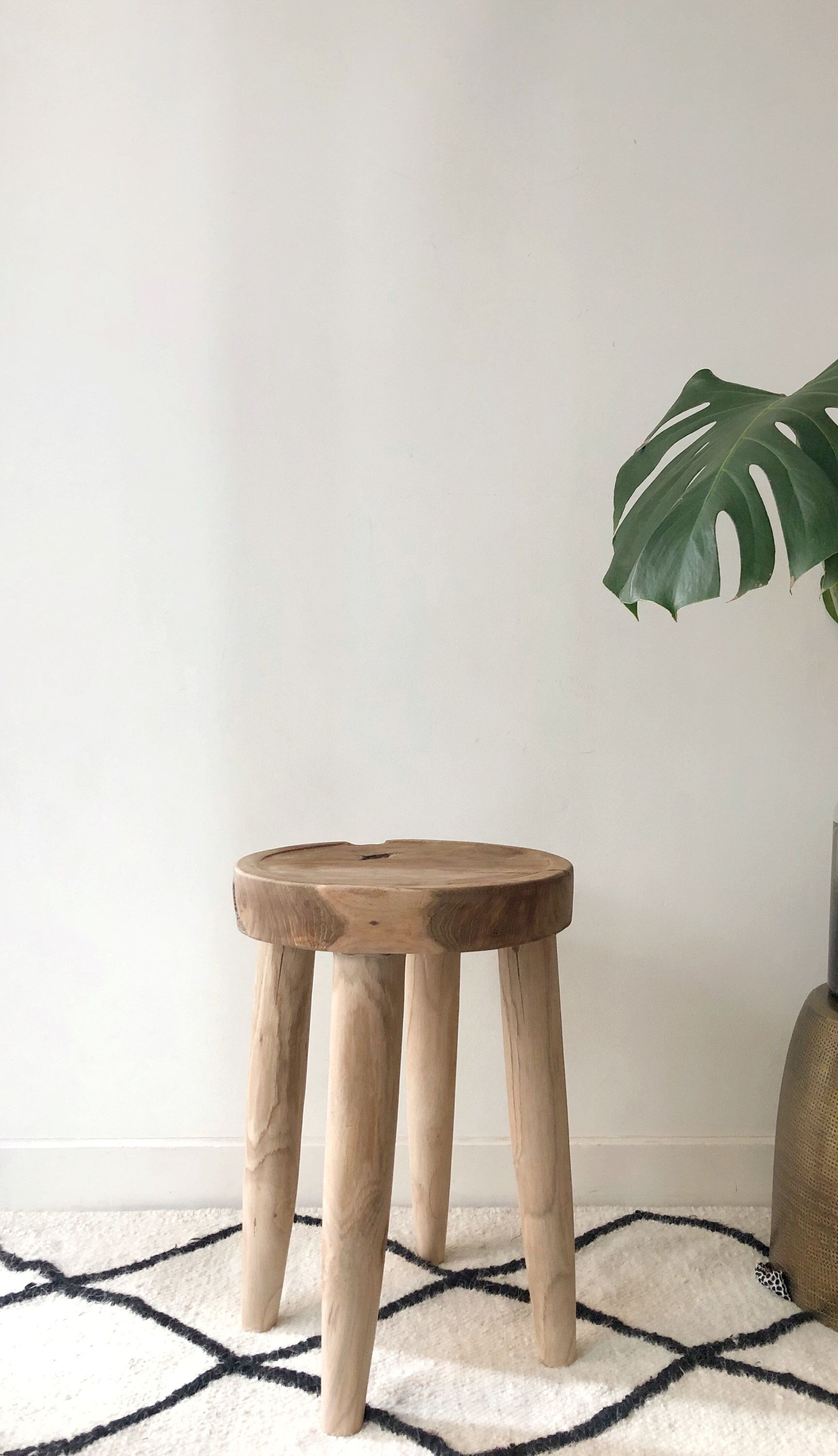 Wooden Side Table Solid Teak Organic Wood Stool Side Table Boho Raw Natural Stool Occasional Round Accent Table Wooden Side Table Lakehouse Decor Wood Stool