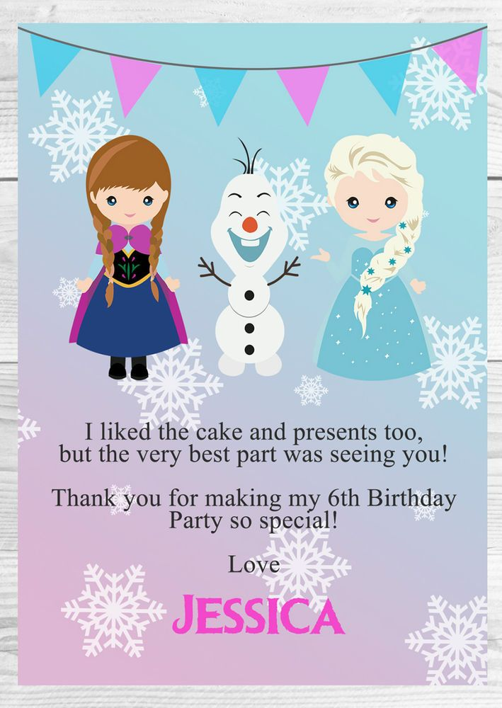 Personalised Frozen Birthday Thank You Cards Birthday Thank You Cards Birthday Thank You Frozen Birthday