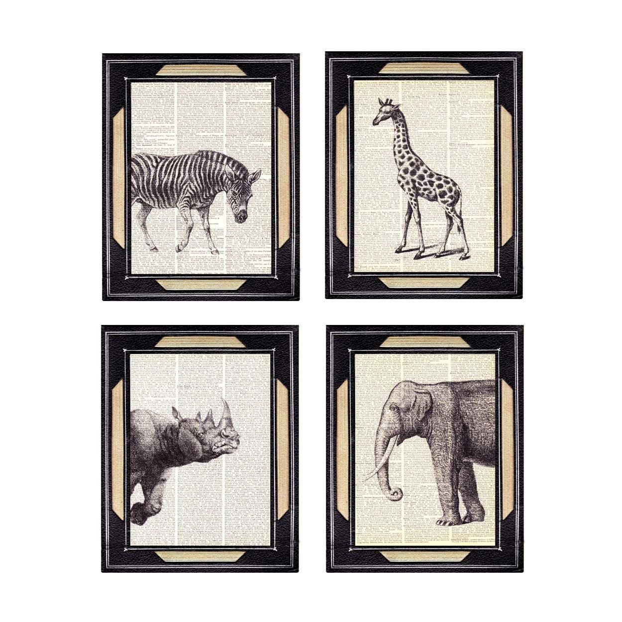 Safari Wall Art african animals safari art print on vintage dictionary page zebra