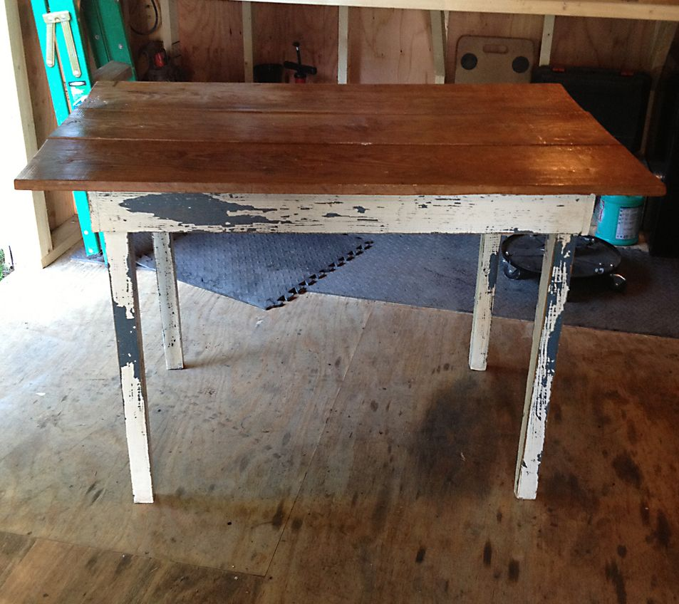 Distressed White Over Blue Farm Table With Finished Wood Top Farm Table Table