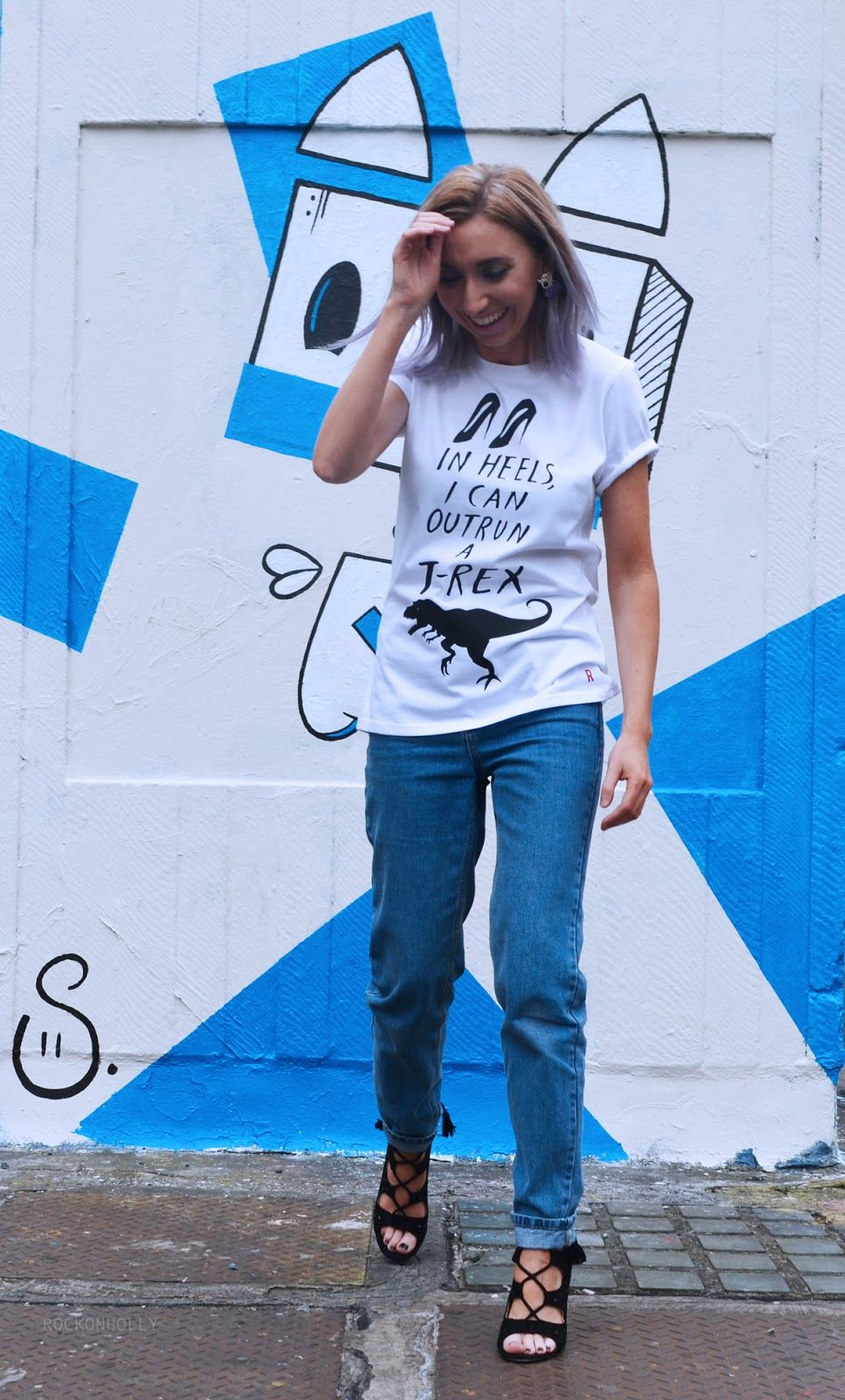 Dom and Ink T-Rex Tee for Rock On Ruby - Dinosaur illustrated T-shirt with Topshop Mom Jeans and black lae up Fashionchick heels.