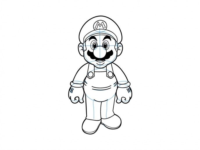 How To Draw Mario From Super Mario Brothers With Images Super