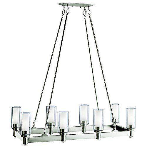 Contemporary Luxury Rectangular Linear Island Dining Room: Circolo Rectangle Chandelier