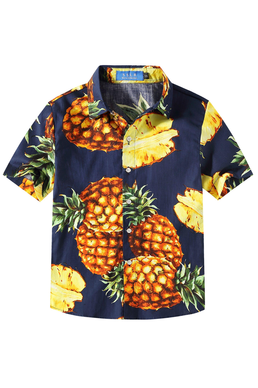 Hawaiian Shirts Boys Pineapple Leaf Beach Aloha Casual Holiday
