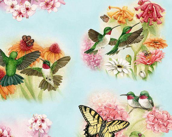 "Fabric Hummingbird Squares Set Cotton 6/"" x 6/"" 2 Designs 3 Ea Elizabeth"
