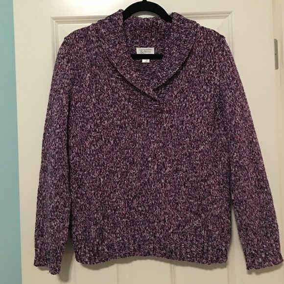 Christopher & Banks pull over sweater Euc pull over sweater with flip over collar. Various shades of pink/purple/white Christopher & Banks Sweaters Crew & Scoop Necks