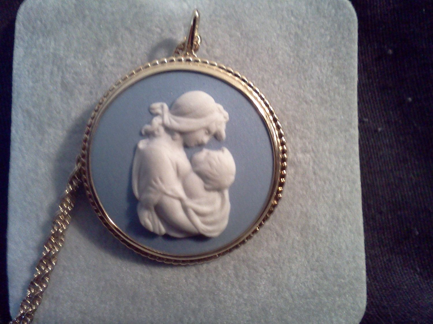 BEAUTIFUL Vintage Wedgwood mother son cameo necklace. $50.00, via Etsy.