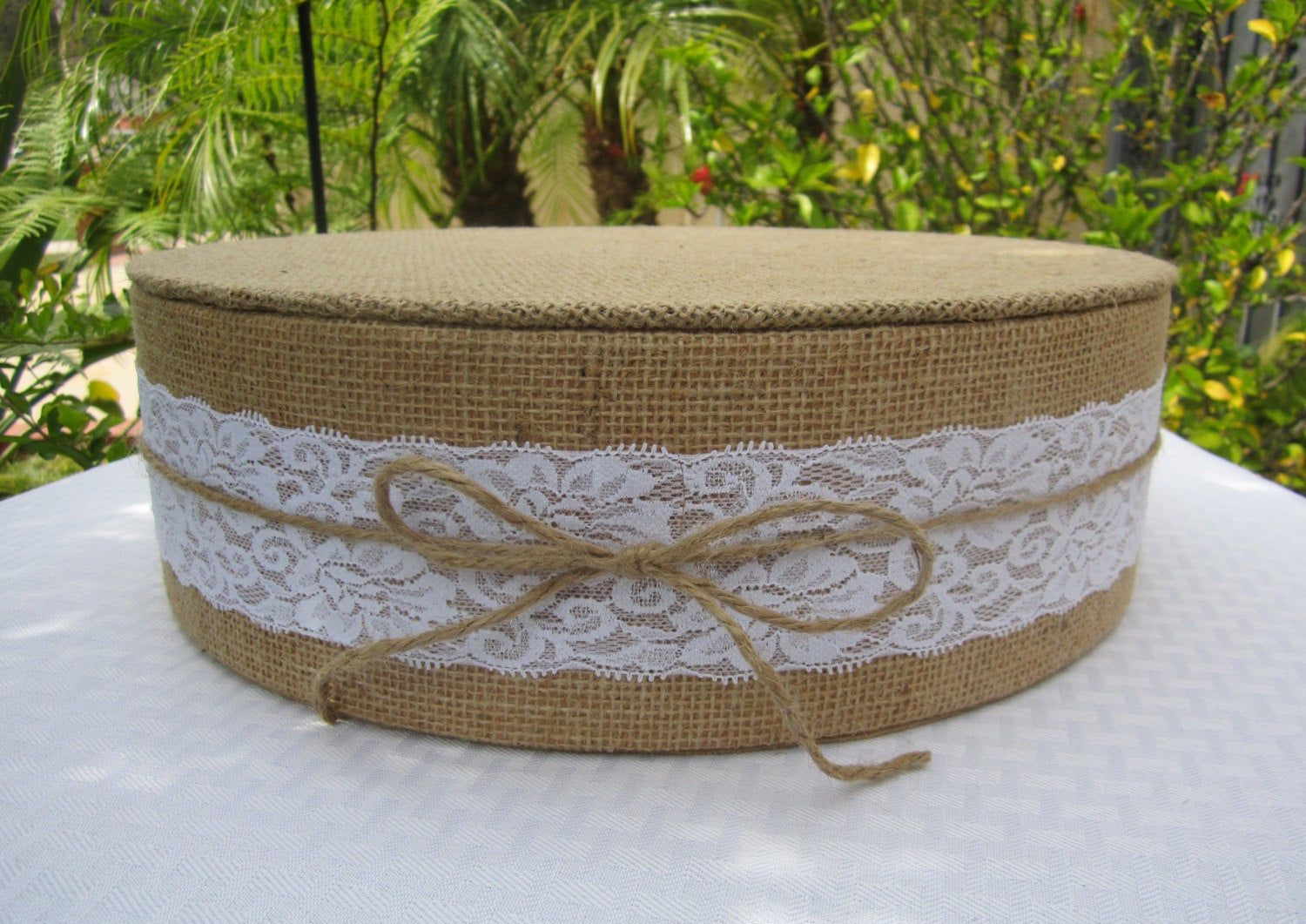 14 round or square burlap lace wedding cake stand