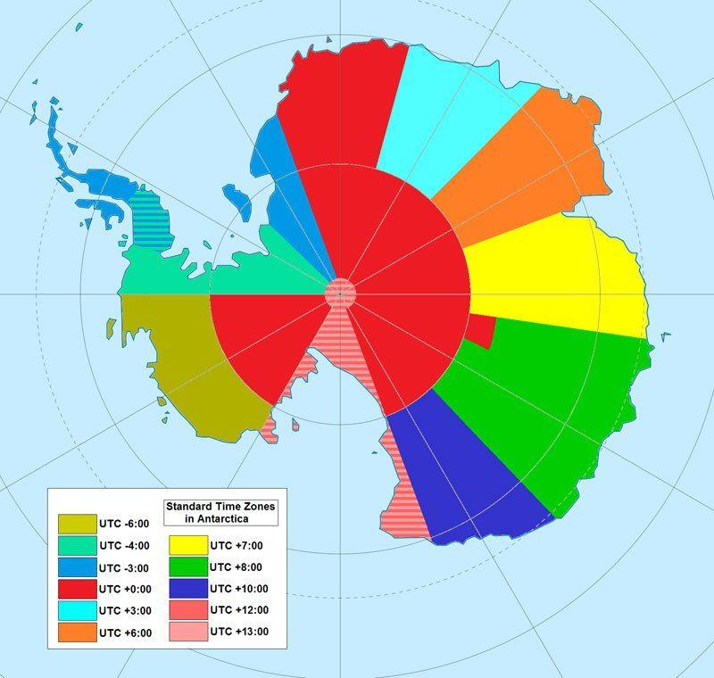 Map Of Time Zones In Anarctica Map Of Time Zones In Antarctica
