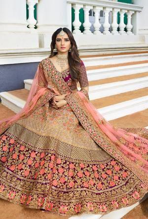 Cream and Purple Lehenga Dress - Desi Royale   Designer ...