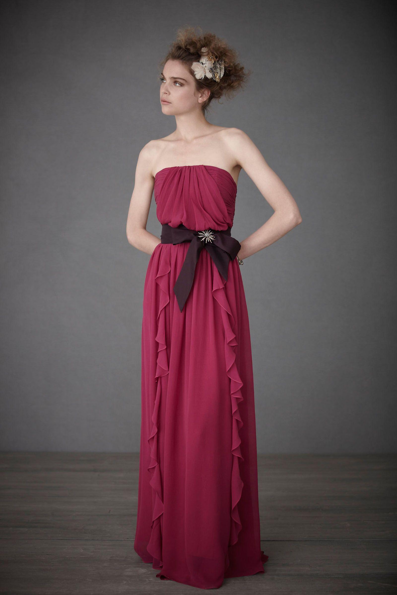 Watermelon Chiffon Floor-Length A-Line Prom Dress