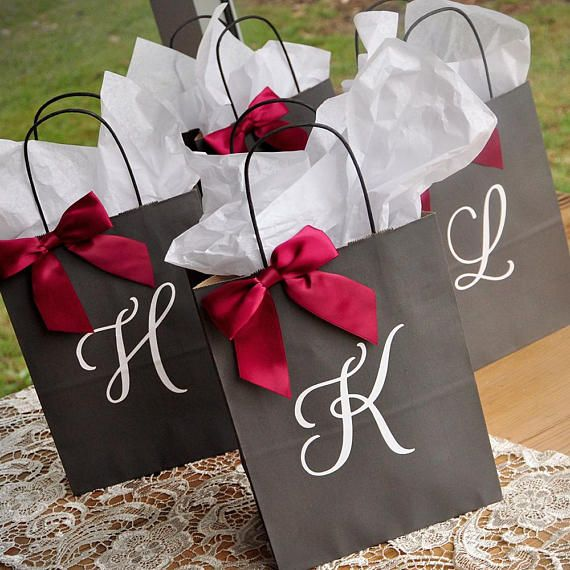 Personalized Gift Bags for Bridesmaids. Large Grey Paper Bags with Handles. Bridal Party Gift Bags. G8KFT