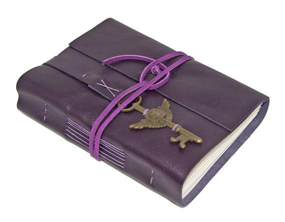 Purple Leather Journal with Winged Clock Key by boundbyhand, $33.00