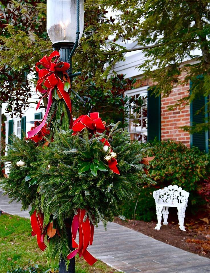 lampost Christmas wreaths, Holiday decor, Lampost