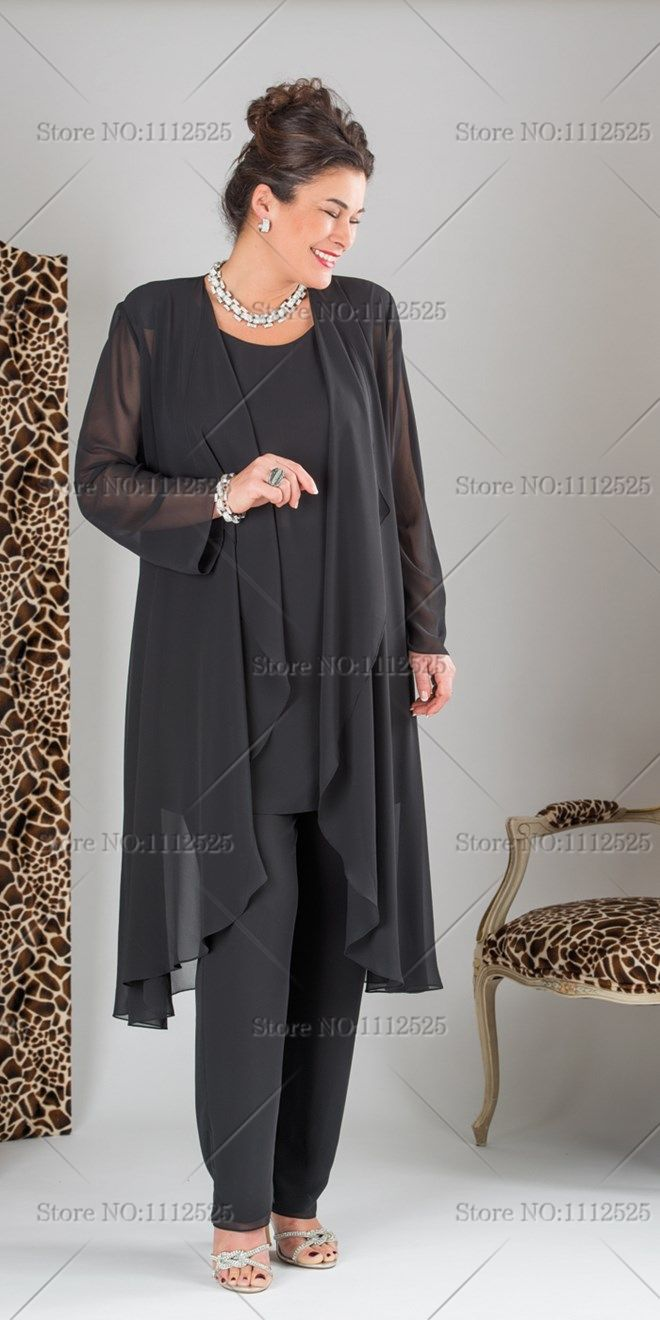 20c73b4fbf370 Find More Mother of the Bride Dresses Information about Elegant Black three  picec mother of the bride Chiffon pant suits with long jacket Plus size