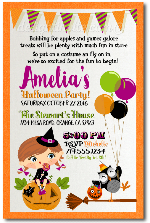 Kids Halloween Costume Party Invitations Halloween Theme Birthday