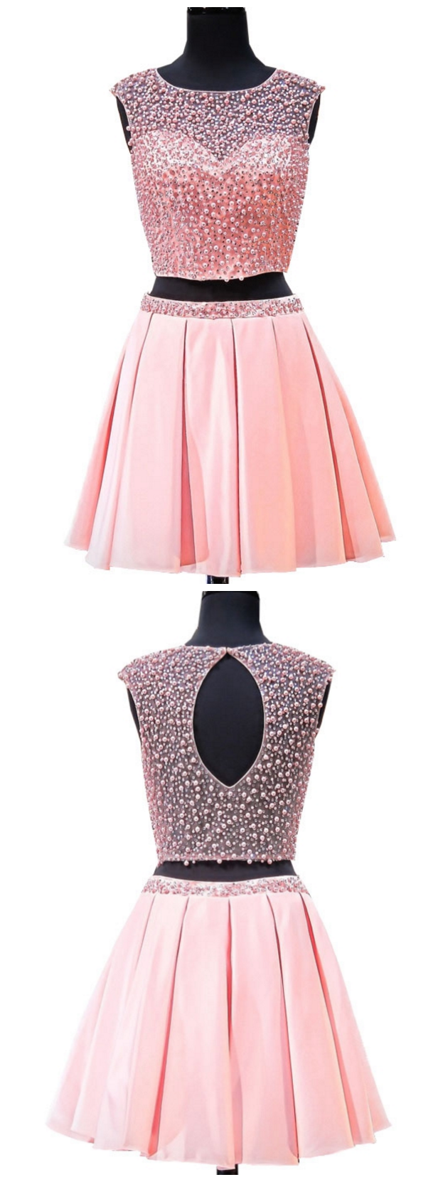 Lovely 8th Grade Prom Dresses A-line Scoop Pearls Beaded Two Piece ...